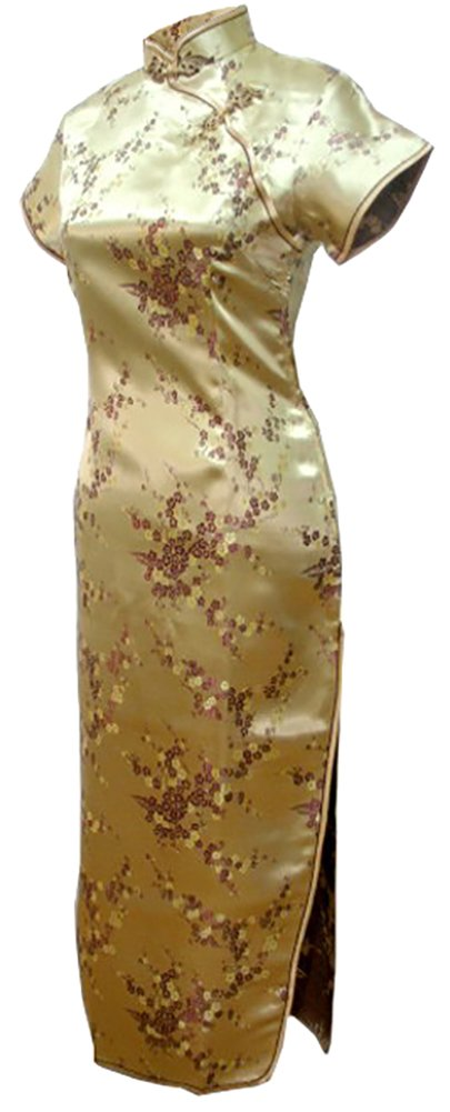 7Fairy Women's Sexy Vtg Gold Floral Long Chinese Prom Dress Cheongsam Size 12 US