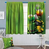 customized coins - St. Patricks Day Room Darkening Curtains Wood Design with Shamrock Lucky Clovers Pot of Gold Coins and Horse Shoe Customized Curtains 63