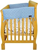 "Dr. Seuss Star Pattern by Trend Lab Velour CribWrap Rail Covers for Crib Sides (Set of 2), Blue, Wide for Crib Rails Measuring up to 18"" Around!"