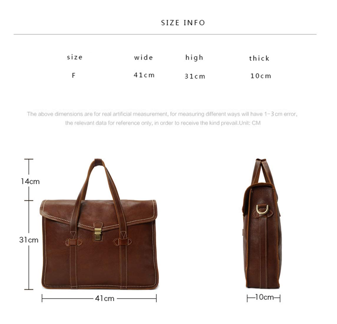 Color : Coffee Carriemeow Mens Briefcase Large Capacity Shoulder Crossbody Bag Genuine Leather Waterproof Multi-Function Business Tote Handbag for Male
