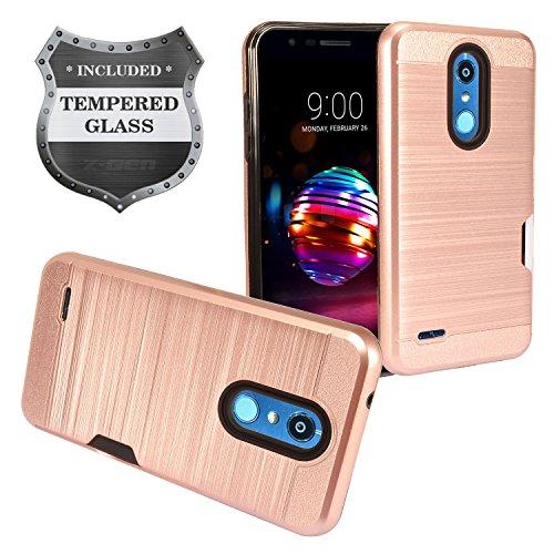 - LG K30 LM-X410, Xpression Plus, Phoenix Plus X410AS, Harmony 2, CV3 Prime, Premier Pro LTE L413DL - Brushed Hybrid Case w/Card Slot + Tempered Glass Screen Protector - CS1 Rosegold