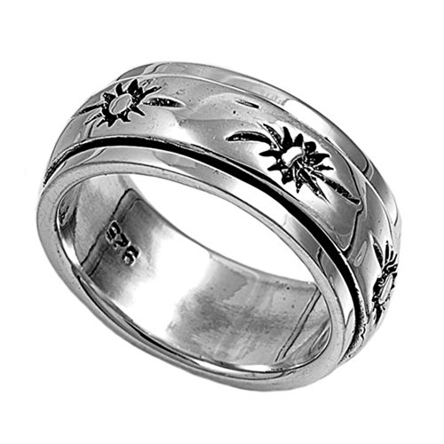 Tribal Sun Sterling Silver Ring (Sterling Silver Tribal Suns Spinner Ring - size8)