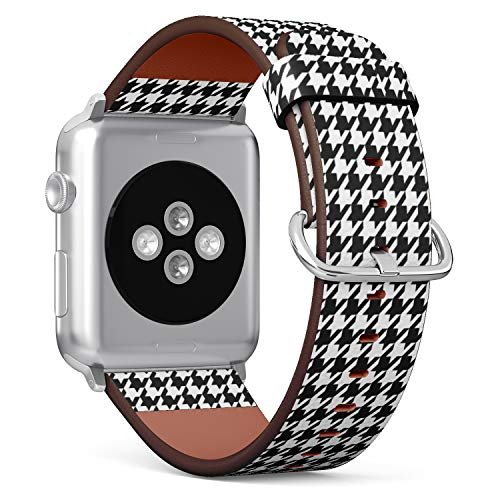 Compatible with Apple Watch 38/40mm (Small) - Replacement Accessory Leather Band Strap Bracelet Wristbands with Adapters (Houndstooth Black White)