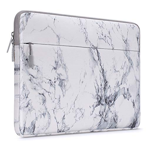 MOSISO Laptop Sleeve Bag Compatible with 13-13.3 inch MacBook Pro, MacBook Air, Notebook Computer with Accessory Pocket, Ultraportable Protective Canvas Marble Pattern Carrying Case Cover, White (Best Laptop Sleeve For Macbook Pro 13)