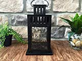 Qualtry Personalized Decorative Candle Lantern 6in x 6in x11in - Unique Wedding Gifts for The Couple (Black, K&P Design)