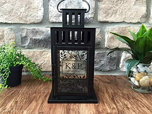 Qualtry Personalized Decorative Candle Lantern 6in x 6in x11in - Unique Wedding Gifts for The Couple (Black, K&P Design) by Qualtry