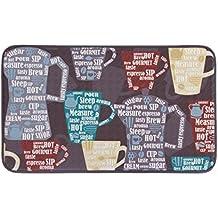 "Chef Gear 20"" x 36"" Anti-Fatigue Faux Leather 'Fun Coffee' Kitchen Mat"