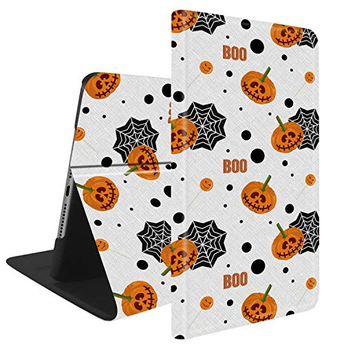 Compatible with iPad Mini 4, Slim Fit All Round Protect with Auto Sleep/Wake Standable PU Leather case - Cute Halloween Pumpkin, Lollipop and Spider Web Pattern