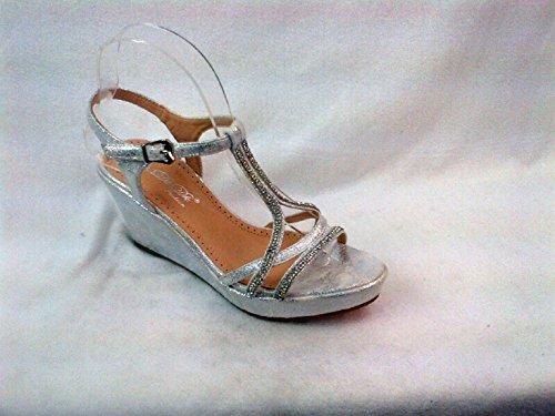 Eleganti Calzature Da Ballo / Cunei Da Sera Con Sandali Glitterati Marive-06 Argento