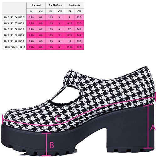 Heel SPYLOVEBUY Platform Buckle Shoes Block Black CATTIE Sole Houndstooth Cleated wqZC4Egq