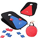 corn bag toss game - Himal Collapsible Portable Corn Hole Boards With 10 Cornhole Bean Bags And Tic Tac Toe Game 2 Games on 1 Board (2 x 1-feet)(Red-Blue)