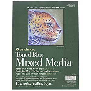 400 Series Toned Blue Mixed Media Pad, 9″x12″ Glue Bound, 15 Sheets per Pad