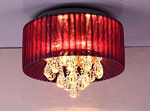 malist restaurant crystal lamps festivals burgundy cloth bedroom ceiling lamps LO122444PY ( Size : D50CM ) ()