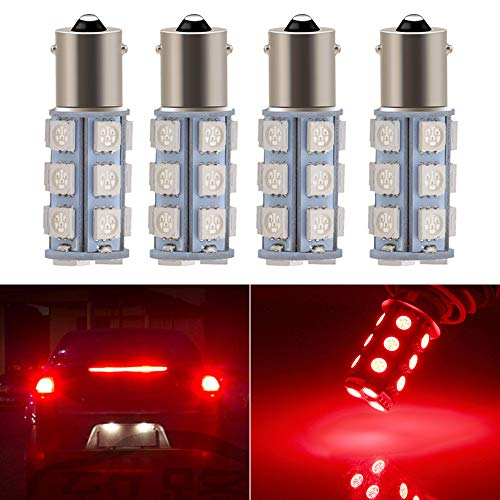Everbright 4-Pack Red 1156 BA15S / 1141/1073 / 1095 Base 18 SMD 5050 LED Replacement Bulb for RV Camper SUV MPV Car Turn Tail Signal Bulb Brake Light Lamp Backup Lamps Bulbs High LUMS (DV-12V)