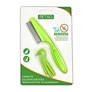 Home Tick Removal Tool for Dogs, Cats and Humans | Ultra-Safe Tick Remover | Removes Entire Head & Body | Pain-Free Ticks Remover | Tick Control Products | Pack of 3 + Flea Comb For Pets. 64