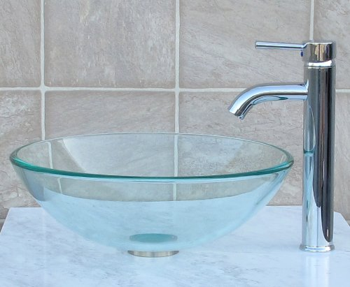 1 2 Tempered Natural Clear Glass Vessel Sink C3 chrome Faucet and drain ring