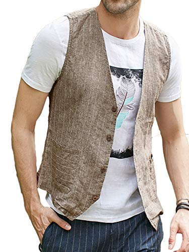 Taoliyuan Mens Linen Suit Vest Slim Fit Casual Striped Skinny Fullback V Neck Waistcoat with Pockets Brown