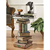 Design Toscano Stacked Book Volumes Vintage Decor End Table with Glass Top, 20 Inch, Polyresin, Full Color