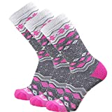 Pure Athlete Kids Ski Socks - Warm Skiing Snowboard Sock for Boys and Girls, Merino Wool (Grey/Hot Pink - 3 Pack, S/M)