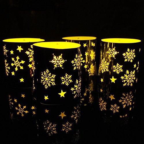 - CozyT 50 PACK Snowflake Tea Light Votive Wraps Paper Candle Holder Laser Cut For Decorative Wedding Party