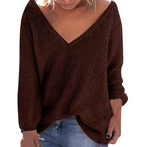 Sunhusing Women's Fall Winter Loose Long Sleeves Deep-V Neck Knitwear Sweater Pullover Blouse