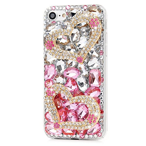- STENES iPhone 8 Plus Case - 3D Handmade Luxury Series Crystal Sweet Heart Sparkle Rhinestone Cover Bling Case for iPhone 7 Plus/iPhone 8 Plus Retro Bows Dust Plug - Pink