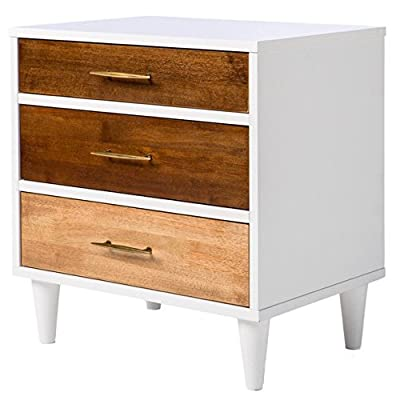 Mid Century Modern Wood 2 Toned Accent Nightstand with 3 Drawers and Solid Wood Legs - Includes Modhaus Living Pen