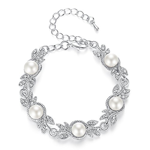 mecresh Simulated Pearl Crystal Bridal Clear Bracelet