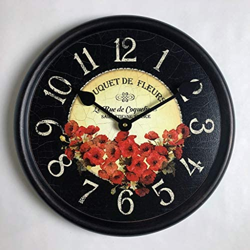 Bouquet de Fleurs Poppies Wall Clock, Available in 8 Sizes, Most Sizes Ship The Next Business Day, Whisper Quiet.