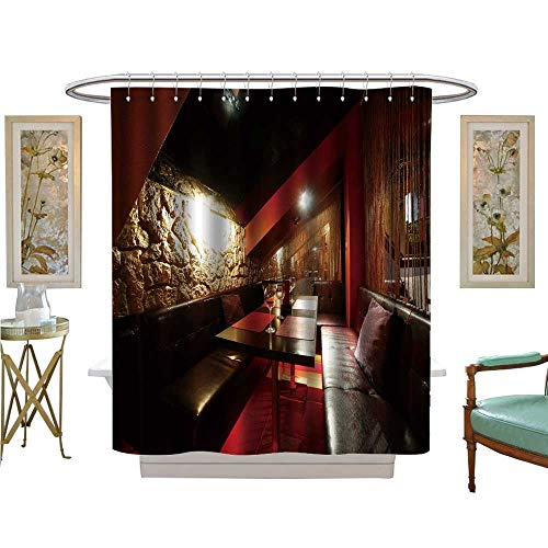 luvoluxhome Shower Curtain Customized Interior of Bright and Night Club Bathroom Decor Set with Hooks W36 x ()