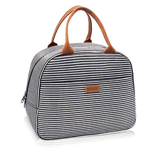 - HEKATE Insulated Lunch Bag for Women, Floral Waterproof Thermal Lunch Bags for Work, Flower Insulated Lunch Box Cooler Bag (stripe black)