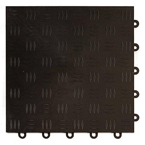 Greatmats Garage Floor Tile Diamond Top 1 ft x 1 ft 24 Pack Black
