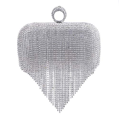 Chain Silver Dress Diamante Wedding Clutch Womens Purse Glitter Wallet Bags Evening Ladies Bags nx6xqwpTC