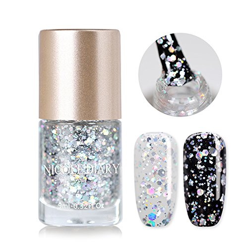 Holographic Shimmer (NICOLE DIARY Holographic Nail Polish Silver Glitter Flakes Lacquer Oil Based Laser Effect Nail Varnish Hologram Shimmer Galaxy Bling Scattered Stars Theme Manicure Decoration (NDHS05))