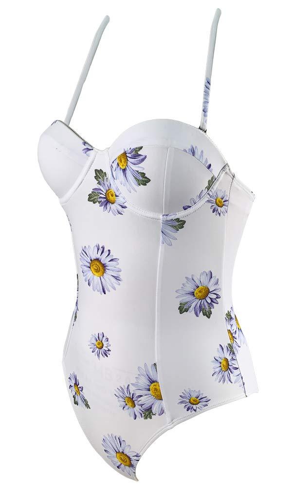 Agreya Women's high Slit Halter Back one-Piece Swimsuit (White Flowers, L)