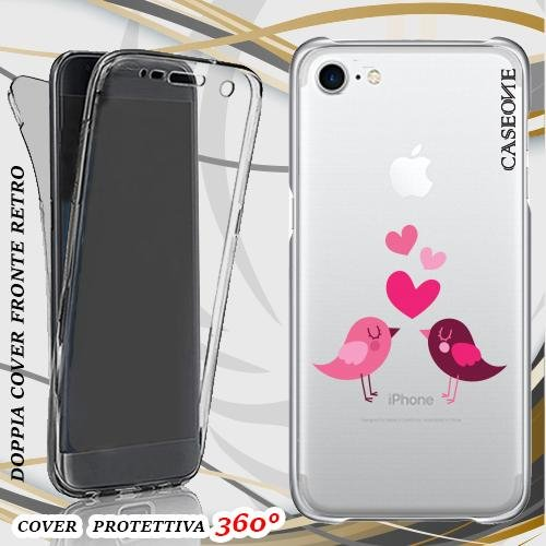 CUSTODIA COVER CASE LOVE BIRDS PER IPHONE 7 FRONT BACK TRASPARENTE