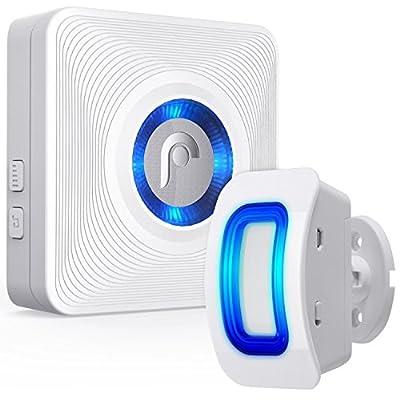 Fosmon WaveLink 51005HOM Wireless Home Security Driveway Alarm, Motion Sensor Detect Alert, Store Door Entry Chime (Operating Range -150M/500FT | 52 Chime Tunes | 4 Volume Levels | LED Indicators)