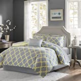 Madison Park Essentials Merritt Queen Size Bed Comforter Set Bed in A Bag - Grey/Yellow, Geometric – 9 Pieces Bedding Sets – Ultra Soft Microfiber Bedroom Comforters