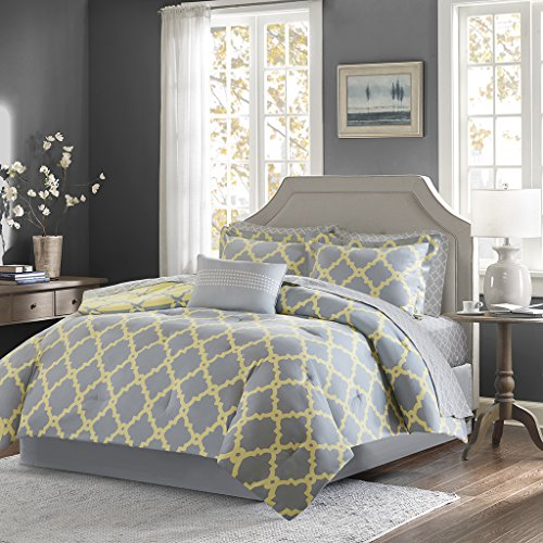 Madison Park Essentials Merritt Full Size Bed Comforter Set Bed in A Bag - Grey/Yellow, Geometric - 9 Pieces Bedding Sets - Ultra Soft Microfiber Bedroom Comforters