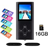 """RHDTShop MP3 MP4 Player with a 16 GB Micro SD Card, Support UP to 64GB TF Card, Rechargeable Battery, Portable Digital Music Player/Video/E-Book Reader, Ultra Slim 1.7"""" LCD Screen, Black"""