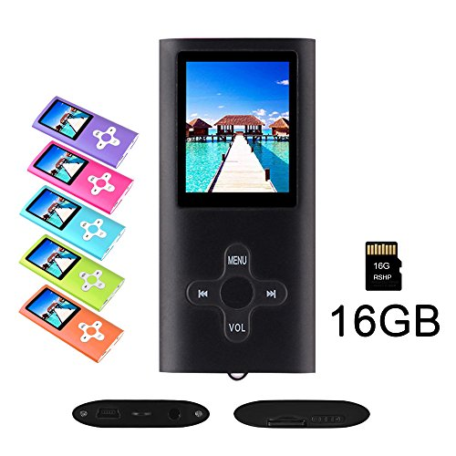 (RHDTShop MP3 MP4 Player with a 16 GB Micro SD Card, Support UP to 64GB TF Card, Rechargeable Battery, Portable Digital Music Player/Video/E-Book Reader, Ultra Slim 1.7