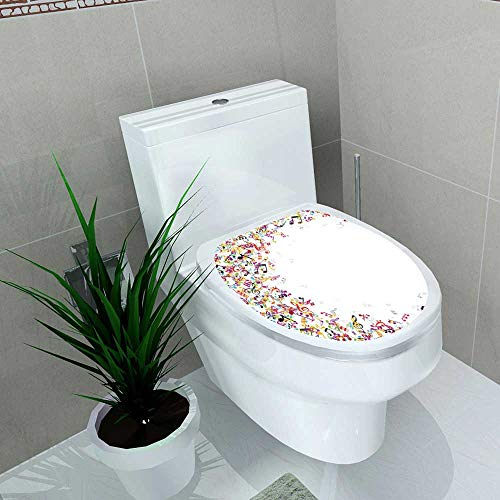Auraise-home Bathroom Removable PVC Waterproof Music Colorful Music Notes Frame ating Festival Singing Enjoyment Fashion Vinyl Removable Bathroom W13 x L16