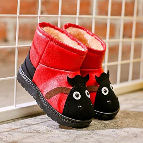 TPulling Herbst Und Winter Mode Kinder Schnee Stiefel Karikatur Warme Baumwollstiefel Kurze Stiefel Martin Stiefel Rot