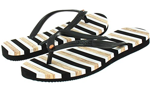 Capelli New York Textured opaque jelly thong with Capelli NY logo and striped outsole Ladies Flip Flop Black x9dCno1