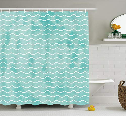 (Ambesonne Nautical Shower Curtain, Soft Pastel Colored Ocean Sea Waves Pattern Summer Vibes Inspired Graphic, Cloth Fabric Bathroom Decor Set with Hooks, 84