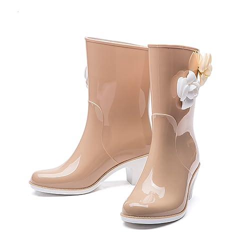 Botines de Mujer de Tacón Alto, Botas de Lluvia Antideslizantes: Amazon.es: Zapatos y complementos