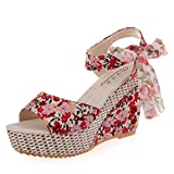 Fheaven Women's Wedge Sandals Floral Strappy The Top Platform High Heels Beach Party Sandals (China size:38(US:7), Red)