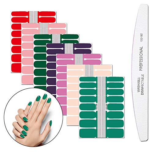 File Sticker Nail - WOKOTO 7 Sheets Solid Colors Nail Adhesive Polish Stickers With 1Pcs Nail File Full Wrap Nail Art Decals Manicure Sticker Strips Kit For Women