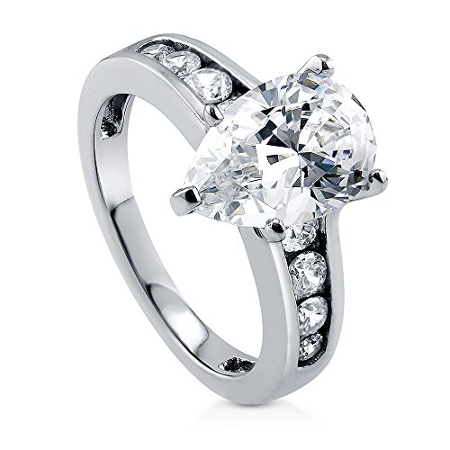 BERRICLE Rhodium Plated Sterling Silver Pear Cut Cubic Zirconia CZ Solitaire Engagement Ring 3.2 CTW Size 6 (Round Brilliant With Pear Shaped Side Stones)