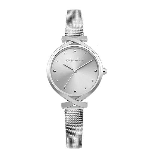 265589bc58c0 Reloj Mujer Karen Millen y Pulsera Malla milanesa KM173SM  Amazon.es   Relojes